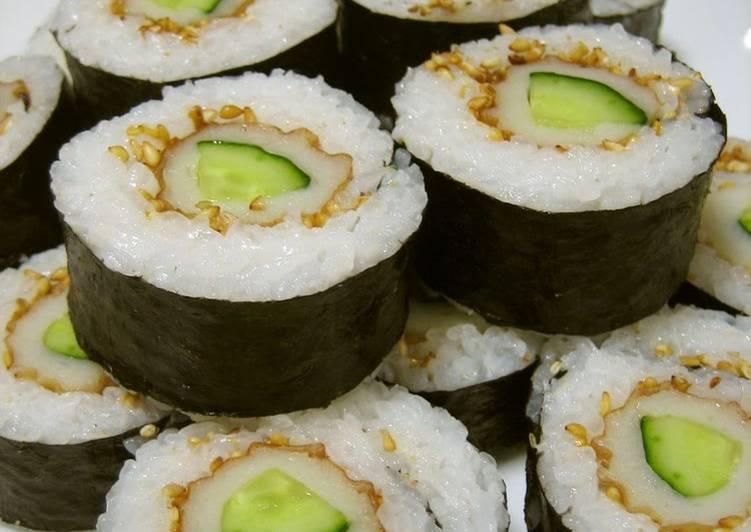 Chikuwa and Cucumber Sushi Roll
