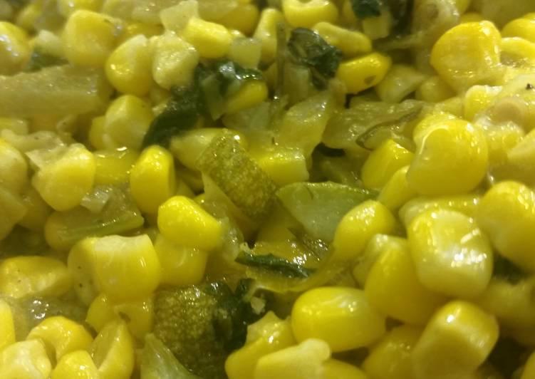 Corn W/ Zucchini & Chiles