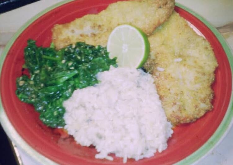 Fry Lime Fish with Spinach &Brown Rice
