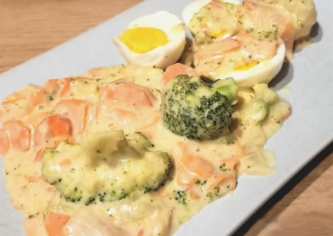 Légumes et œufs durs en béchamel au Cook Expert