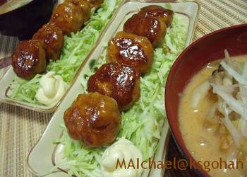 How to Cook Appetizing Fluffy Teriyaki Tsukune with Wheat Gluten and Chicken Breast