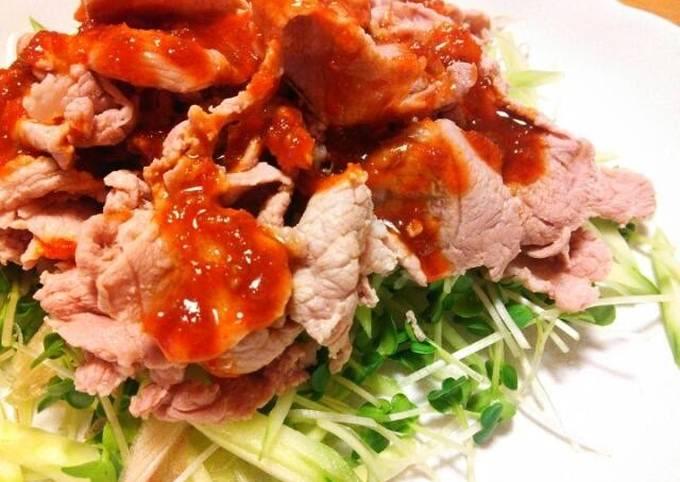Recipe of Homemade Boiled Pork with Korean Style Red Chili & Vinegar Miso Sauce
