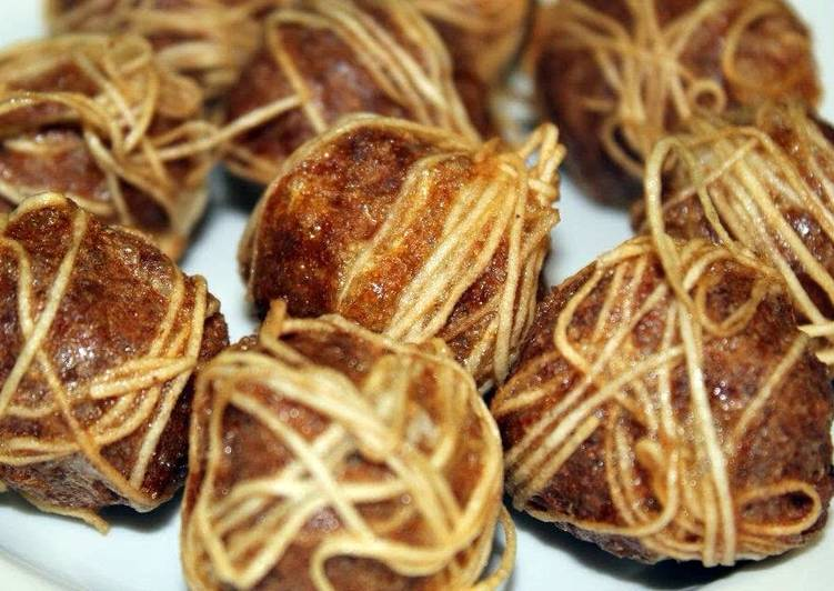 Deep Fried Meatball Wrapped With Noodle