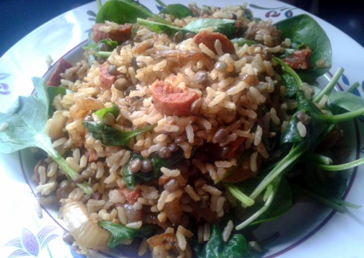 10 Minute Steps to Make Cooking Curried Brown Rice, Lentil & Chorizo Salad