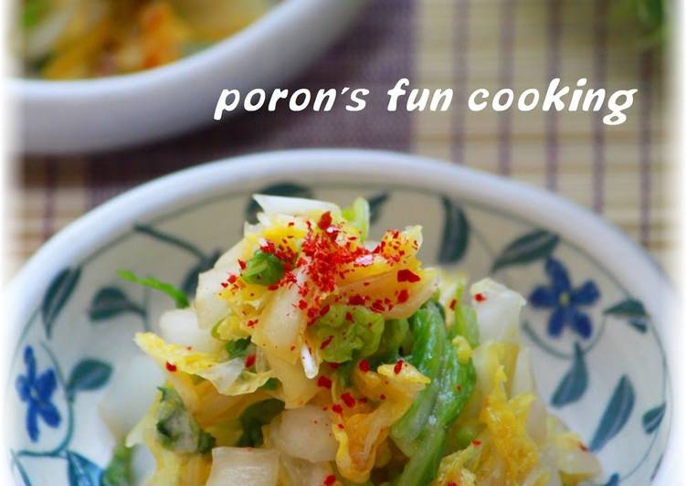 Instant Tsukemono (Pickles) - Chinese Cabbage Tossed in Garlic-Infused Kombu Tea