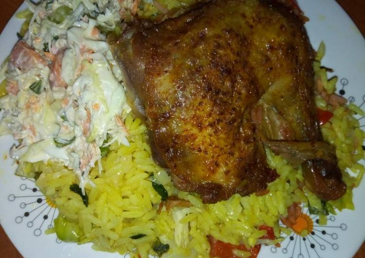 Easiest Way to Prepare Yummy Fried rice,chicken and salad