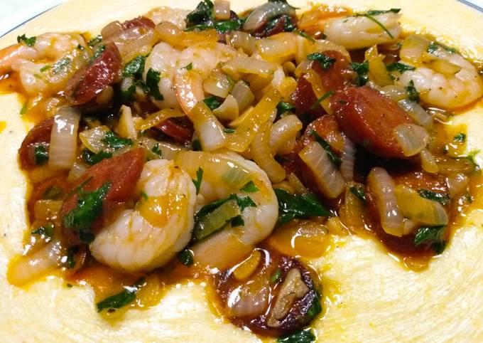 Prawns and chorizo on polenta