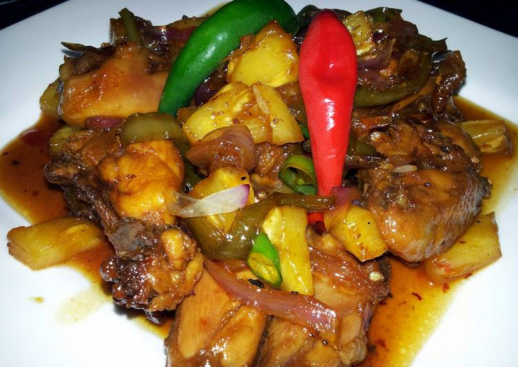Pam's sweet and spicy chicken with pineapple...