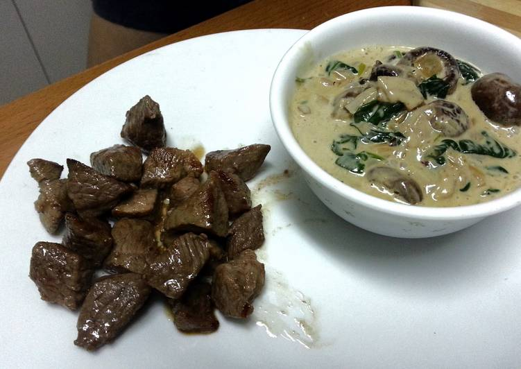 Simple Way to Prepare Ultimate Lamb fillet with mushroom and spinach sauce