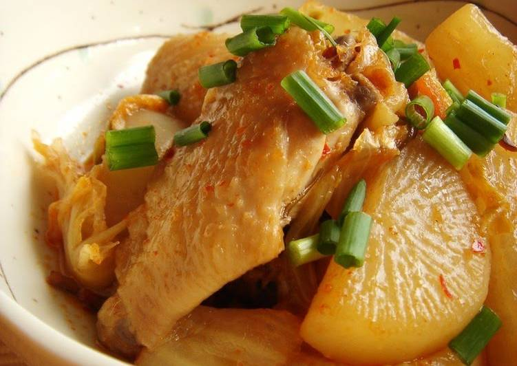 15 Minute Easiest Way to Make Any Night Of The Week Chicken Wings Simmered with Daikon Radish and Kimchi