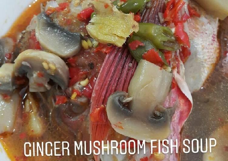 Ginger Mushroom Fish Soup (Sup Kepala Ikan kuah Jahe seger)