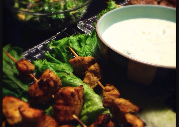 Easiest Way to Prepare Delicious Green curry chicken kebabs with Minty yogurt sauce