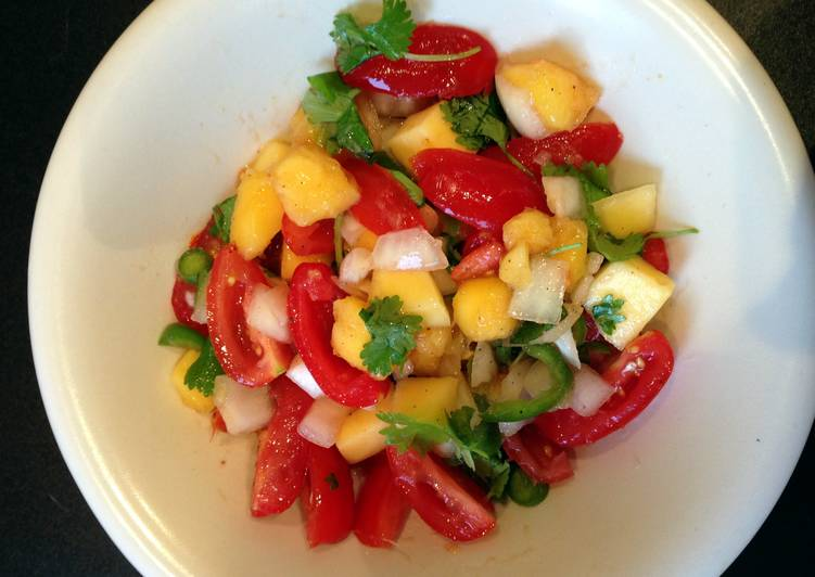 Easiest Way to Make Any-night-of-the-week Fiery mango salsa!!