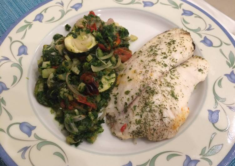 Paloma's Baked Tilapia with Celery, Courgette, Spinach in white