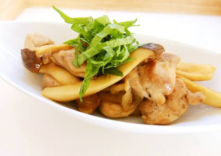 15 Minute Easiest Way to Prepare Love Chicken Thigh and King Oyster Mushroom Butter Ponzu Stir-fry