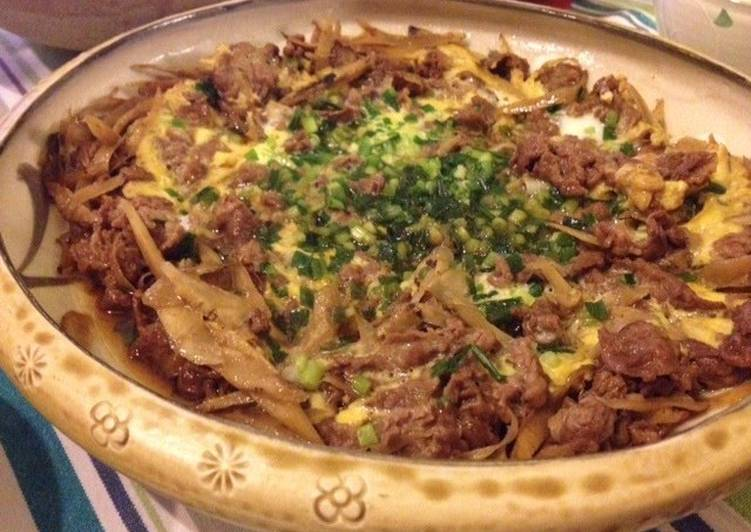 Simple Way to Make Homemade Beef and Burdock Root with Eggs