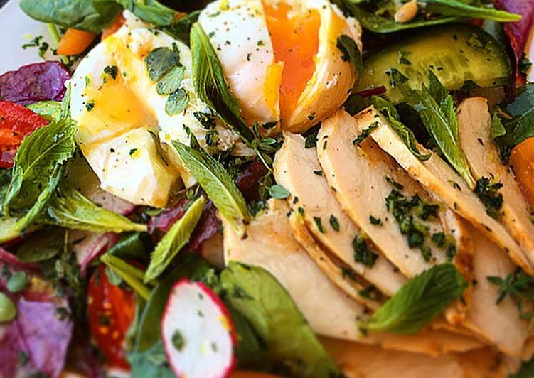 Easiest Way to Make Quick Poached Eggs with Herb Filled Salad & Gremolata
