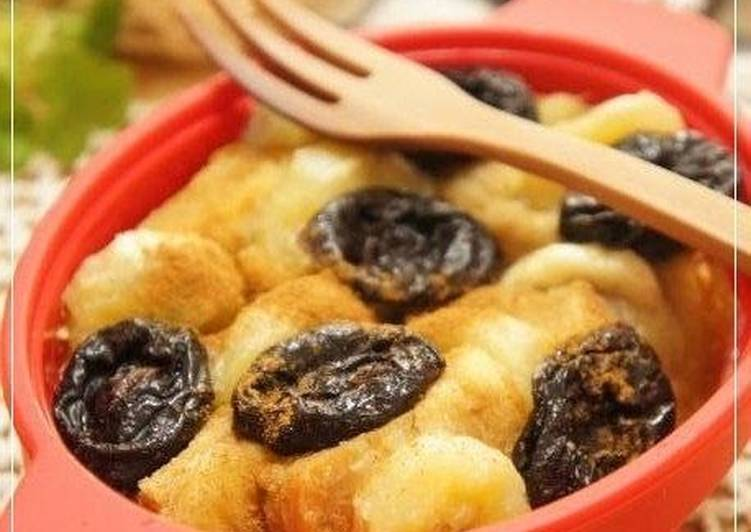 5 Minute How to Make Fall Tea-Infused Bread Pudding with Prunes and Banana