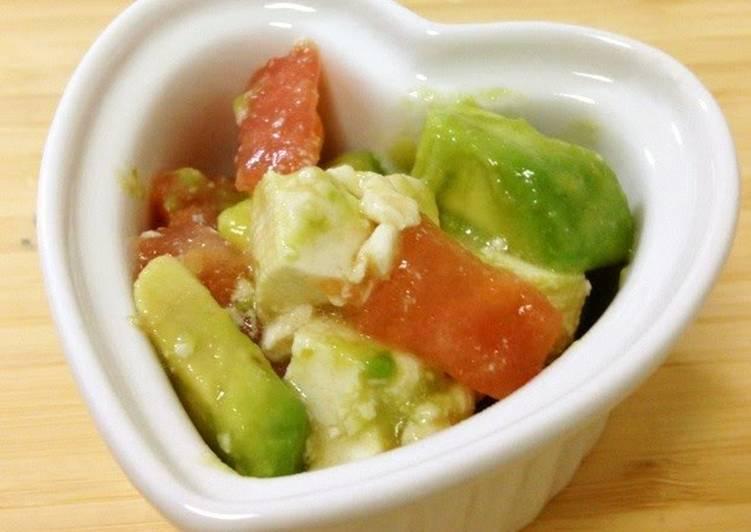 Avocado, Tofu, and Tomato Salad with Yuzu Pepper Paste