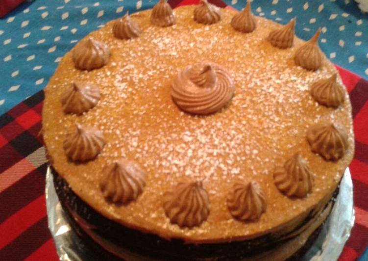 Chocolate cake with chocolate cream cheese frosting and toffee