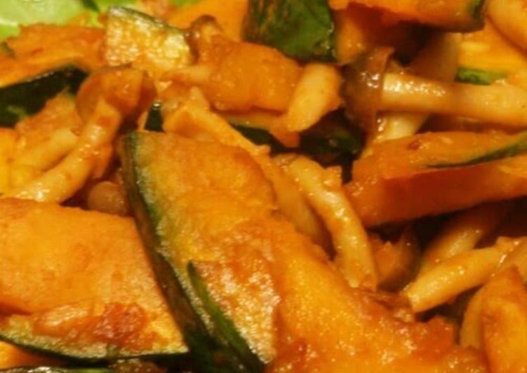 Kabocha and Shimeji Mushrooms Sautéed in Garlic and Butter