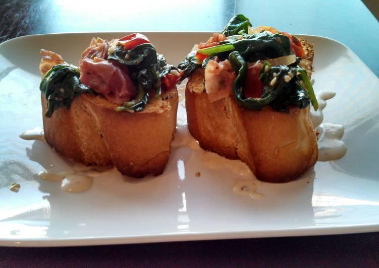 Spinach & Prosciutto Bruschetta