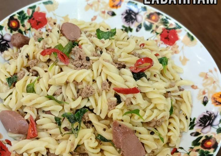 🥬Spiral Goreng Lada Hitam(pasta goreng simple)