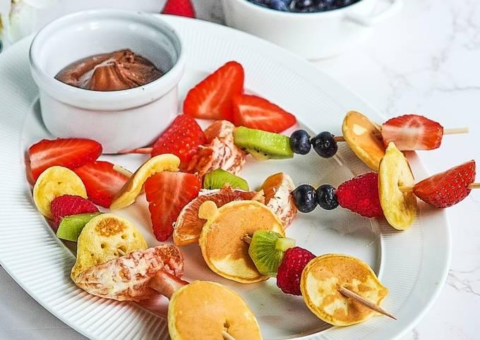 Pancake fruit skewers