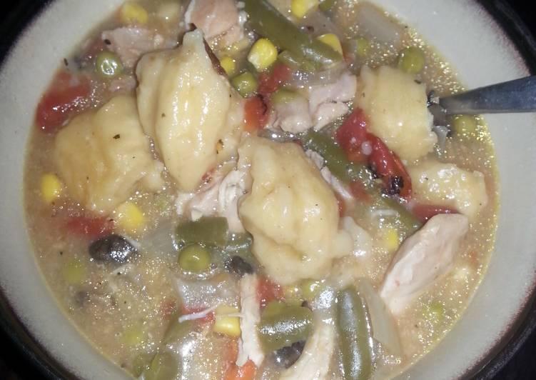 Chicken and dumplings (full of veggies)