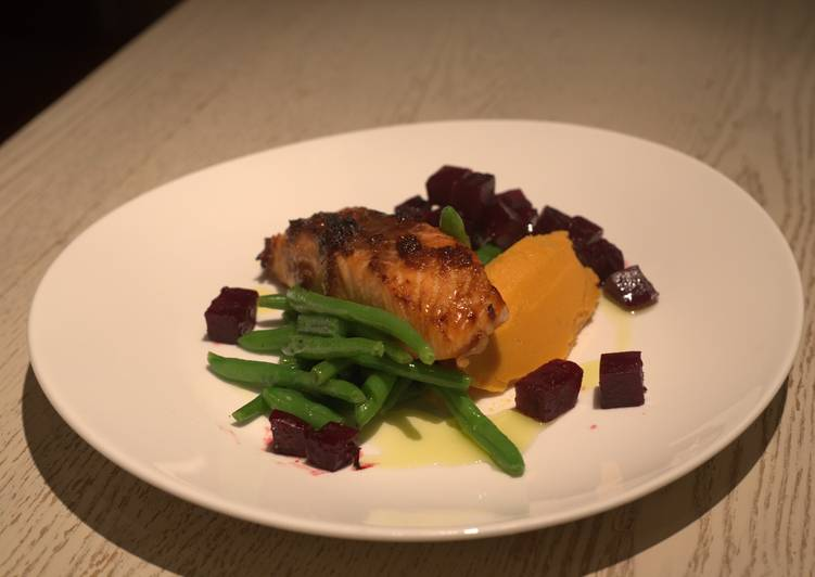 Ginger Grilled Salmon with Orange Glazed Beetroots