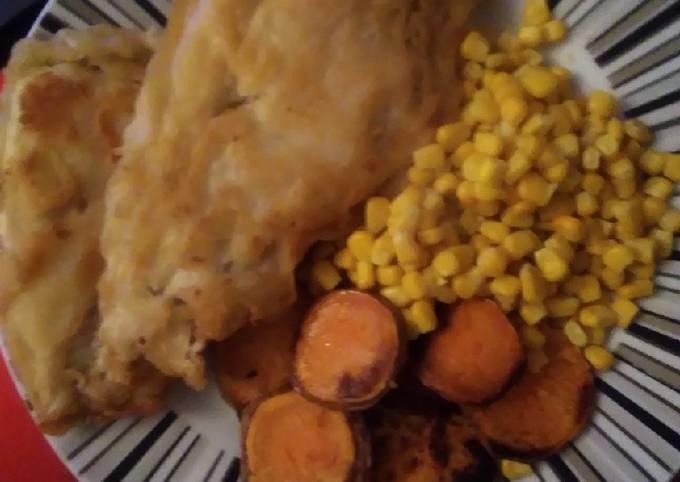 Homemade cod and fried sweet potato with Sweetcorn