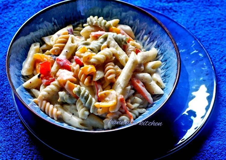 Colorful white sauce pasta