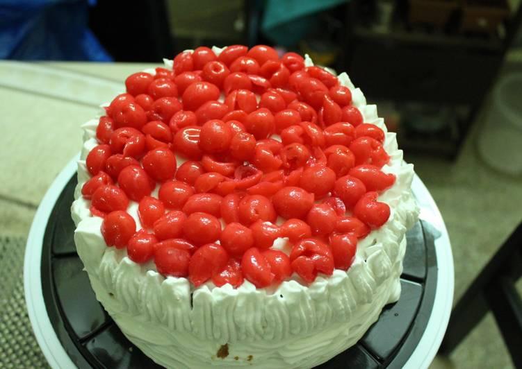 Award-winning Layered upside down apple caramel cinnamon cake with whipped cream and cherries