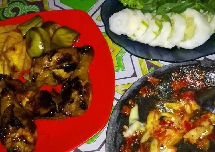 Ayam bakar madu teflon sambal mangga.. no ribet