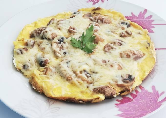 Omelette aux champignons et emmental