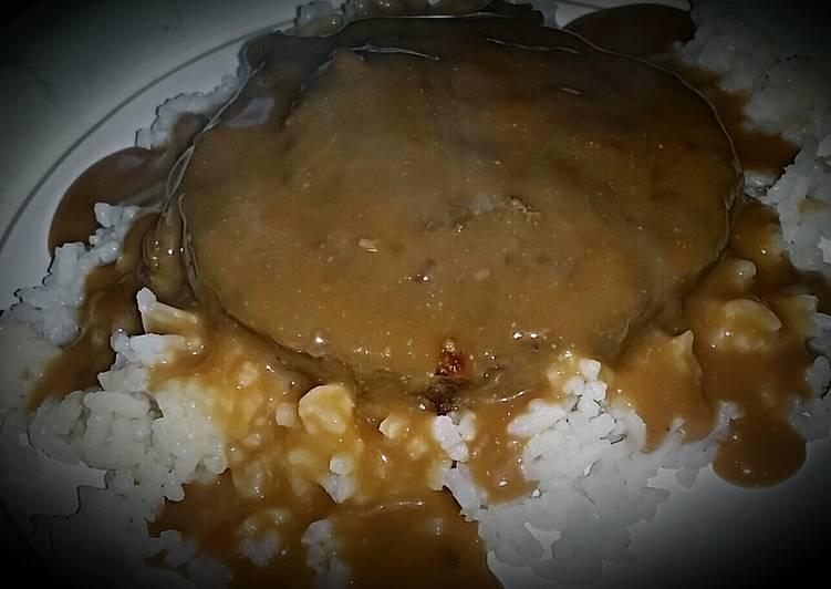 Hamburger on white rice with creamy mushroom gravy!