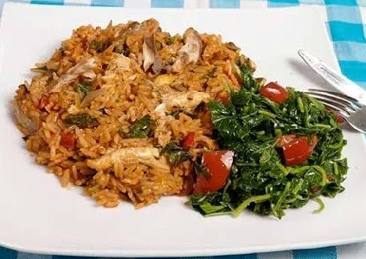 Jollof rice with spinach