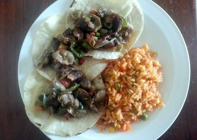 Sonia's Chicken Gizzards and Hearts Tacos