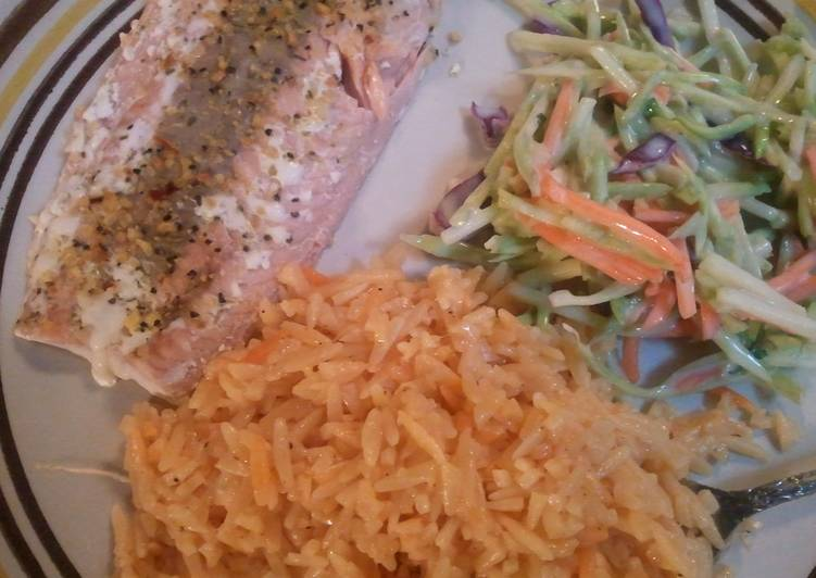 How to Prepare Speedy Salmon w/ Parmesan orzo & Broccoli Salad