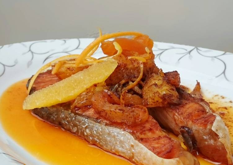 Salmon With Orange And Dried Apricot In Spicy Butter Sauce