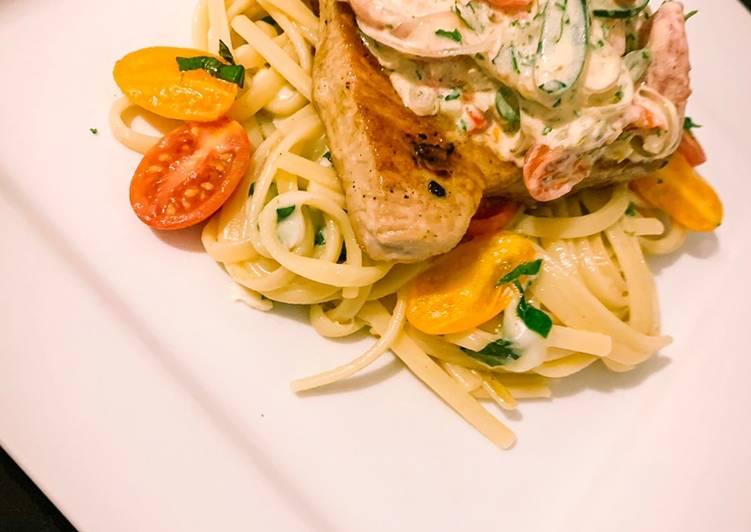 Recipe: Appetizing Yellow fin tuna with chilli & mozzarella linguini