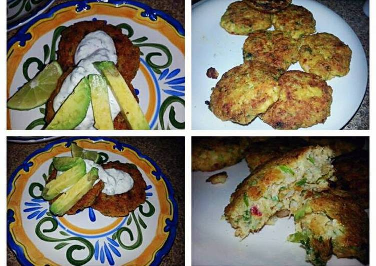 Recipe of Super Quick Homemade Spicy Shrimp Cakes with Mojito Lime Crema`