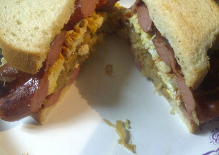 Recipe: Tasty Sauerkraut, hotdog, egg sandwich