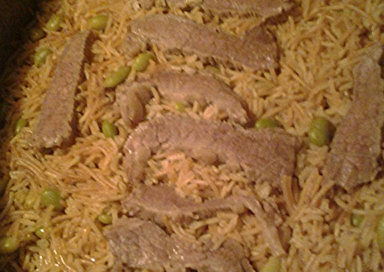 Basmati rice in beef stock