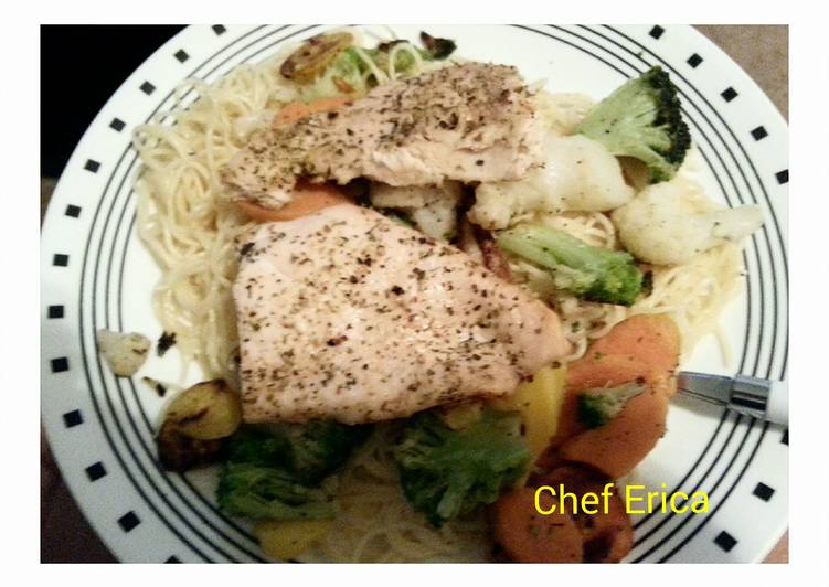 Baked fish with vegetable pasta