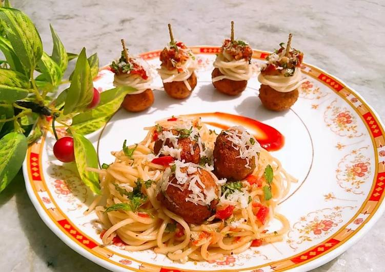 Veg Meatballs with Spaghetti