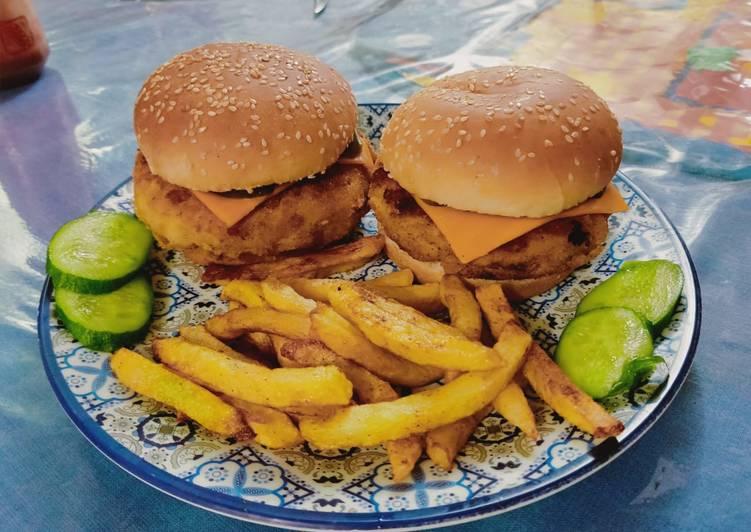 Potato Filled Chicken Cheese Burger