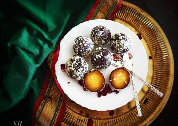 Dry Kala Jamuns with coconut cream filling