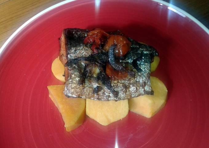 Oven baked salmon with sweet potatoes