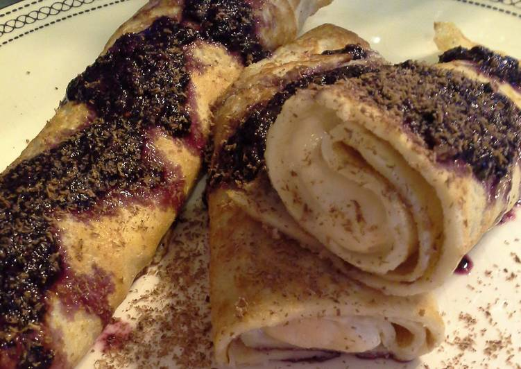 How to Make Tasty Ricotta Crepes with Raspberry-Chile Coulis and Chocolate Shavings